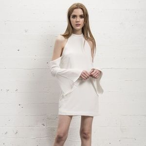 (NEW) WYLDR White Cold Shoulder Bell Sleeve Dress
